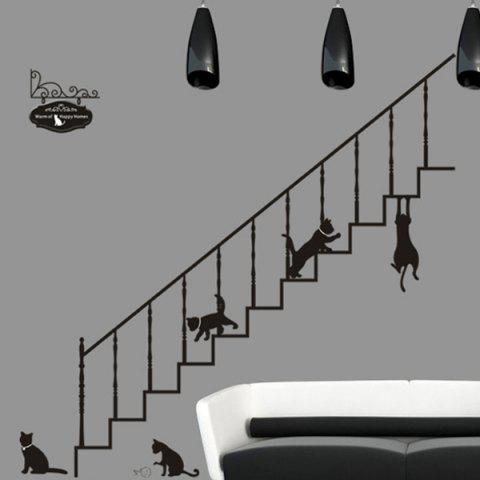 Fancy Simple New Creative Stair and Cat Pattern Home Decoration Decorative Wall Stickers