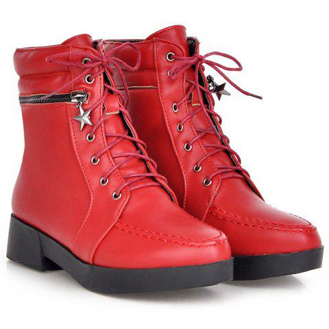 Chic Fashionable Solid Color and PU Leather Design Women's Short Boots - 37 RED Mobile