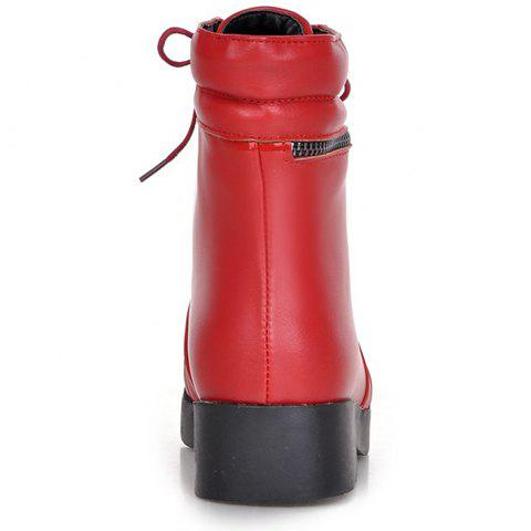 Outfits Fashionable Solid Color and PU Leather Design Women's Short Boots - 37 RED Mobile