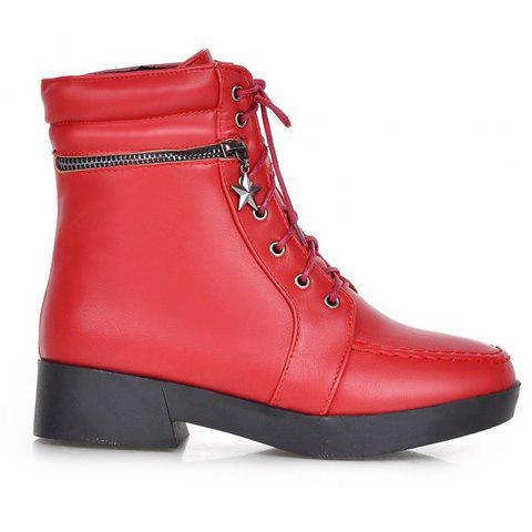 Latest Fashionable Solid Color and PU Leather Design Women's Short Boots - 37 RED Mobile