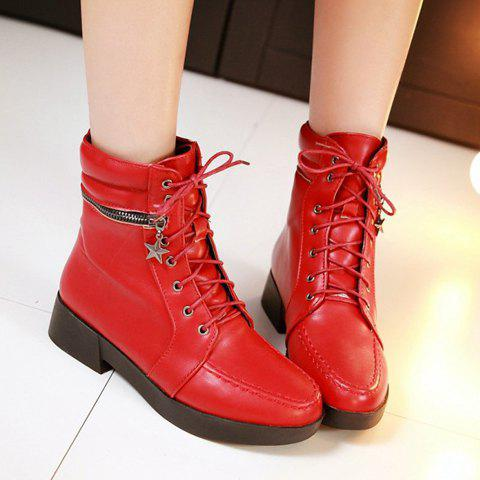 Sale Fashionable Solid Color and PU Leather Design Women's Short Boots - 37 RED Mobile