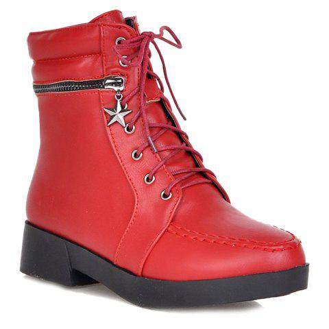 Cheap Fashionable Solid Color and PU Leather Design Women's Short Boots - 37 RED Mobile
