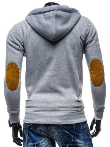 Latest Classic Color Spliced Applique Button Pocket Embellished Hooded Long Sleeves Men's Slim Fit Hoodie - M LIGHT GRAY Mobile