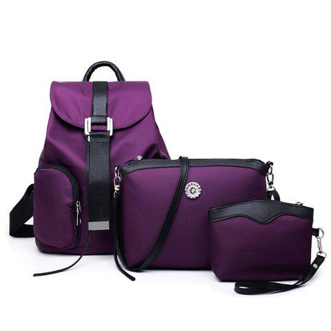 Drawstring Nylon Backpack 3Pc Set - DEEP PURPLE