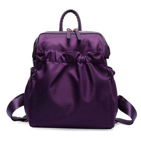 Latest Fashionable Solid Colour and Zipper Design Women's Backpack PURPLE