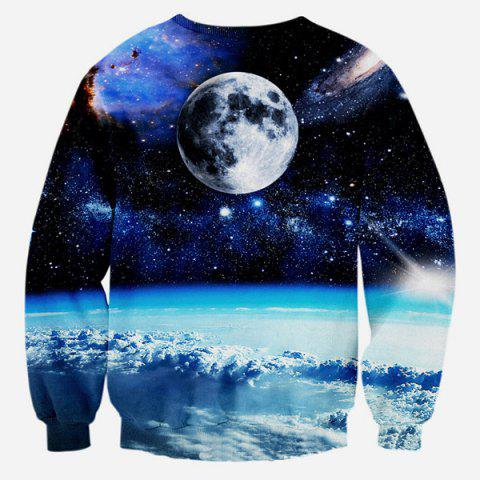 Sale Creative Cat Sheriff into Space 3D Printed Graphic Sweatshirts - M COLORMIX Mobile