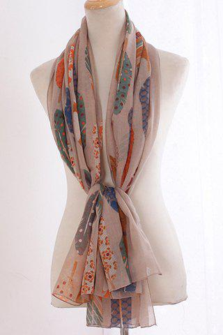 Fashion Chic Various Handpainted Feathers Pattern Voile Scarf For Women
