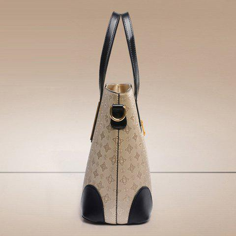 Outfits Trendy Colour Block and Embossing Design Women's Shoulder Bag - GOLDEN  Mobile