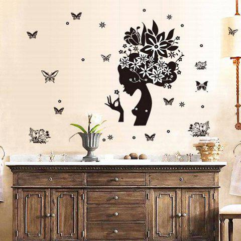 Discount DIY Butterfly Girl Pattern Decorative Wall Stickers