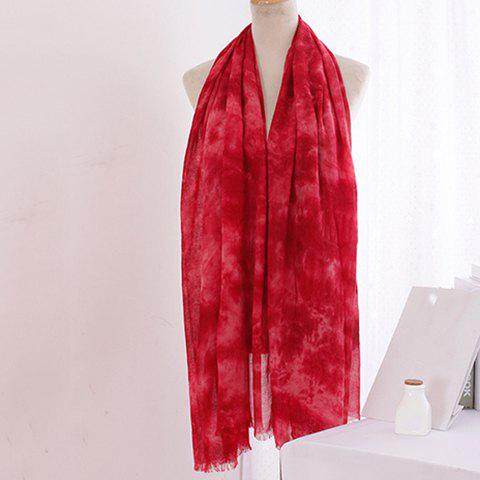 Sale Chic Tie-Dyed Print Fringed Edge Voile Scarf For Women
