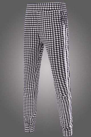 Best Casual Narrow Feet Color Block Houndstooth Print Stripes Spliced Men's Elastic Waist Jogger Pants