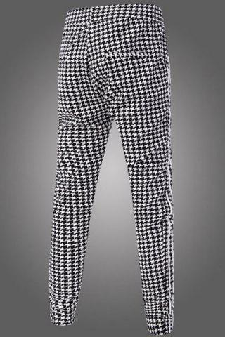 Casual Narrow Feet Color Block Houndstooth Print Stripes Spliced Men's Elastic Waist Jogger Pants от Rosegal.com INT