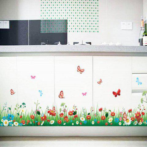 Shops Stylish Creative DIY Grass and Flower Pattern Home Decoration Decorative Wall Stickers