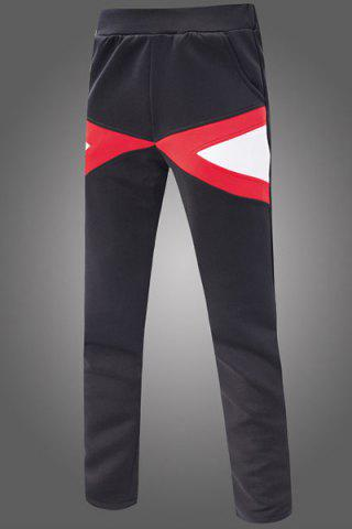 Trendy Slimming Narrow Feet Color Block Triangle Spliced Patch Pocket Elastic Waist Men's Sweatpants
