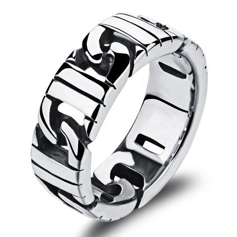 Discount Punk Style Stainless Steel Ring SILVER ONE-SIZE