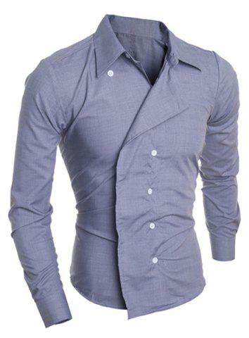 Cheap Personality Irregular Button Fly Solid Color Shirt Collar Long Sleeves Men's Slimming Shirt