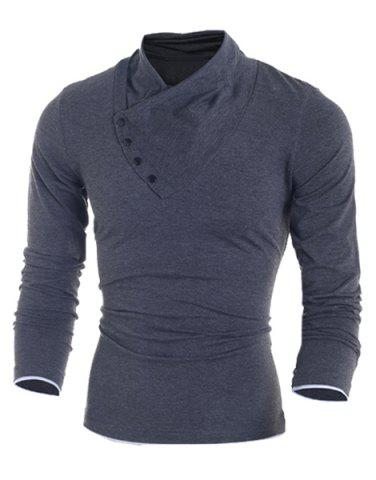 Unique Inclined Single-Breasted Color Block Cuffs Slimming Heaps Collar Long Sleeves Men's T-Shirt DEEP GRAY M