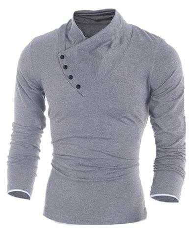 Unique Inclined Single-Breasted Color Block Cuffs Slimming Heaps Collar Long Sleeves Men's T-Shirt LIGHT GRAY 2XL