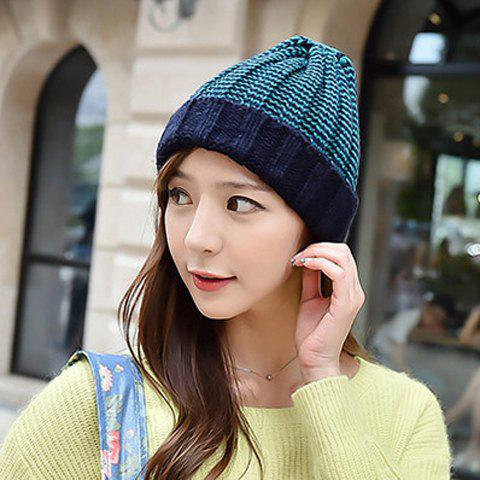 Online Chic Flanging Color Block Striped Knitted Beanie For Women - COLOR ASSORTED  Mobile