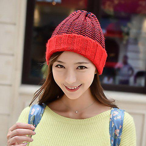 Unique Chic Flanging Color Block Striped Knitted Beanie For Women