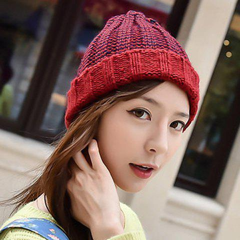 Fashion Chic Flanging Color Block Striped Knitted Beanie For Women - COLOR ASSORTED  Mobile