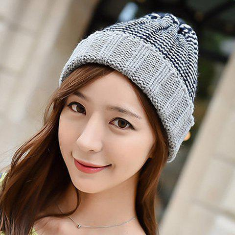 Outfit Chic Flanging Color Block Striped Knitted Beanie For Women - COLOR ASSORTED  Mobile