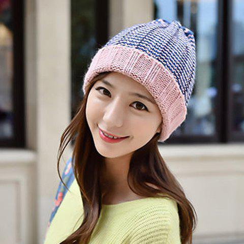 Trendy Chic Flanging Color Block Striped Knitted Beanie For Women - COLOR ASSORTED  Mobile