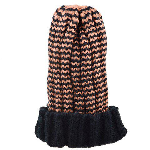 Shop Chic Flanging Color Block Striped Knitted Beanie For Women - COLOR ASSORTED  Mobile