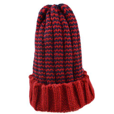 Unique Chic Flanging Color Block Striped Knitted Beanie For Women - COLOR ASSORTED  Mobile