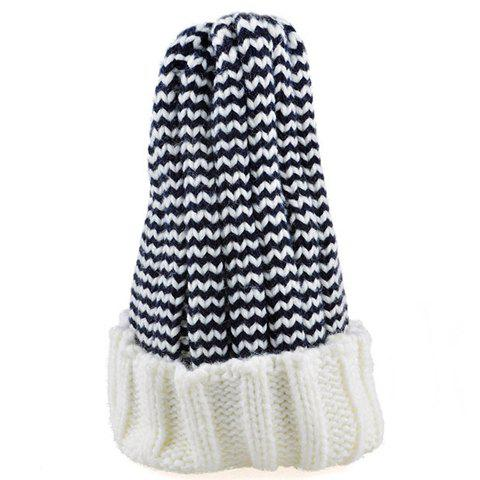 Cheap Chic Flanging Color Block Striped Knitted Beanie For Women - COLOR ASSORTED  Mobile