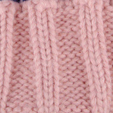 Latest Chic Flanging Color Block Striped Knitted Beanie For Women - COLOR ASSORTED  Mobile