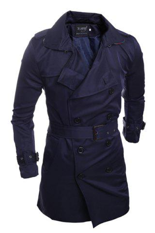 Fashion Personality Back Slit Elegant Belt Epaulet Design Slimming Turn-down Collar Long Sleeves Men's Peacoat