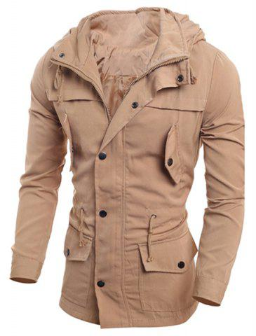 Shops Drawstring Waist Multi-Button Patch Pocket Back Slit Hooded Long Sleeves Slimming Men's Safari Jacket