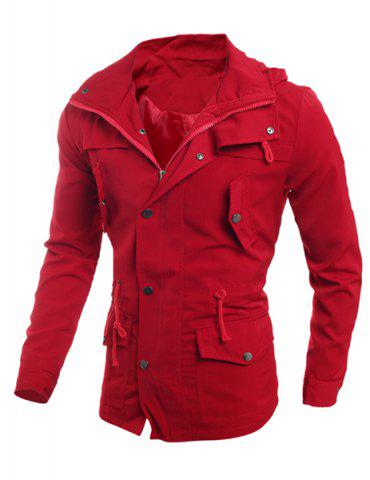 Drawstring Waist Multi-Button Patch Pocket Back Slit Hooded Long Sleeves Slimming Men's Safari Jacket - Red - Xl