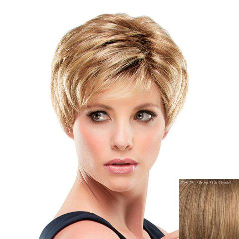 Chic Stunning Inclined Bang Short Capless Fashion Fluffy Straight Real Human Hair Wig For Women