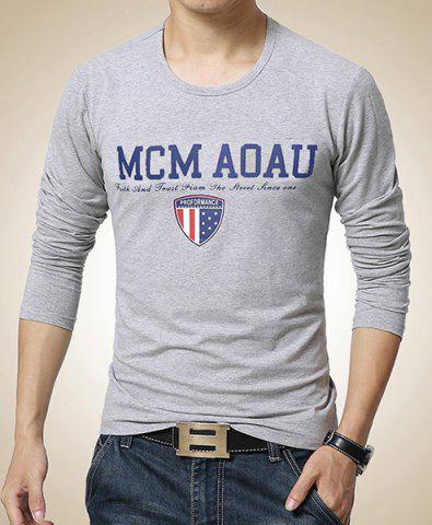 Online Color Block Letters Emblem Pattern Round Neck Long Sleeves Men's Slimming T-Shirt