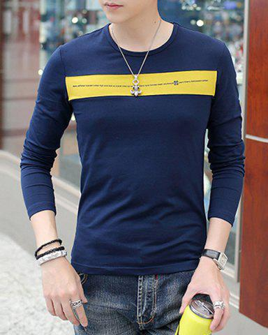 Cheap Modern Style Round Neck Color Block Wide Stripes Spliced Long Sleeves Men's Slim Fit T-Shirt