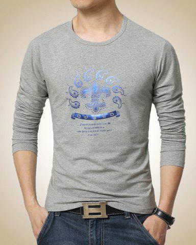 Cheap Slimming Round Neck Color Block Paisley Print Long Sleeves Men's Casual T-Shirt