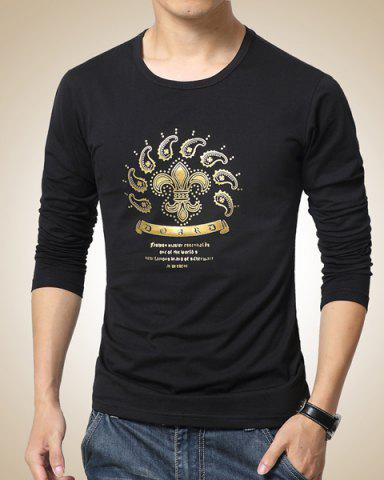Shops Slimming Round Neck Color Block Paisley Print Long Sleeves Men's Casual T-Shirt