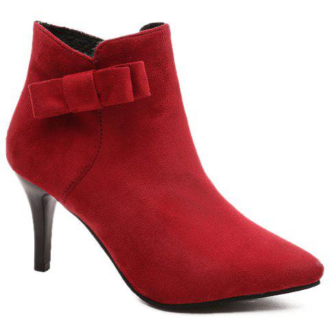 Fancy Bow Pointed Toe Ankle Boots RED 37