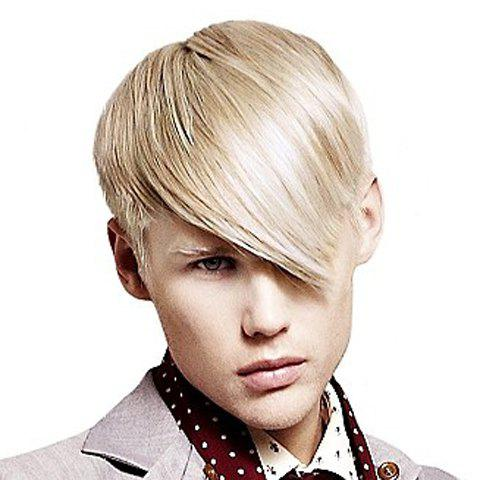 Discount Sparkling Light Blonde Capless Short Trendy Side Bang Heat Resistant Fiber Straight Wig For Men LIGHT BLONDE