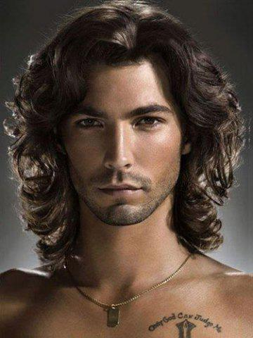 Fashion Shaggy Wavy Medium Capless Black Brown Fashion Heat Resistant Synthetic Middle Part Wig For Men
