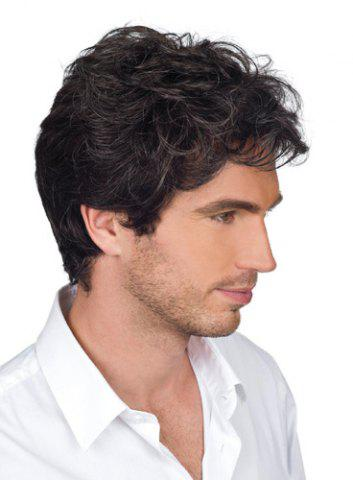 Shops Handsome Short Capless Shaggy Wavy Side Bang Heat Resistant Synthetic Wig For Men BLACK