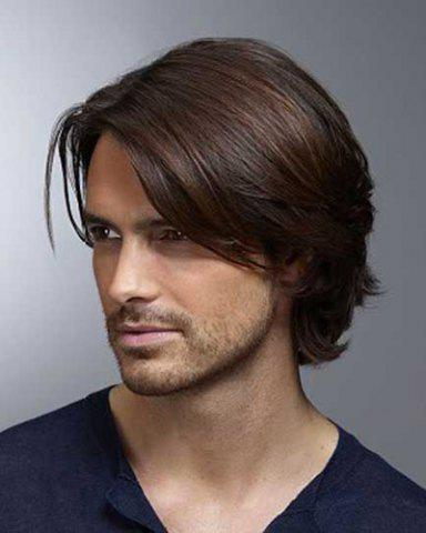 Online Trendy Inclined Bang Short Capless Deep Brown Mixed High Temperature Fiber Natural Straight Wig For Men