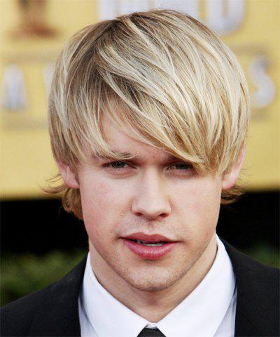 Buy Light Blonde Mixed Shaggy Straight Synthetic Vogue Side Bang Short Capless Men's Wig