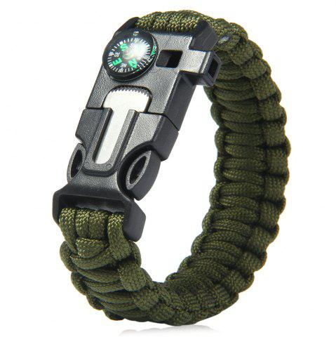 5 in 1 Outdoor Survival Gear Escape Paracord Bracelet Flint / Whistle / Compass / Scraper - Army Green