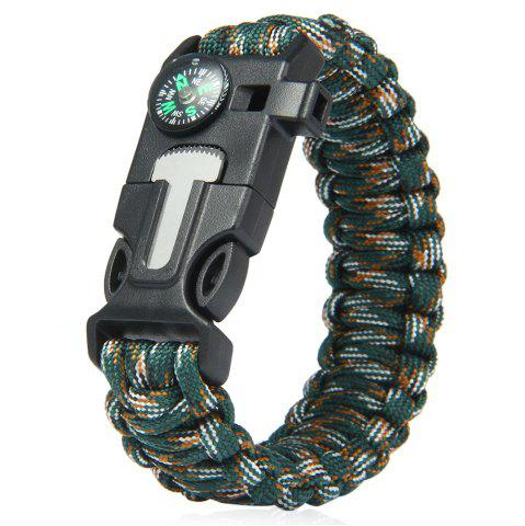 Outfit 5 in 1 Outdoor Survival Gear Escape Paracord Bracelet Flint / Whistle / Compass / Scraper JUNGLE CAMOUFLAGE