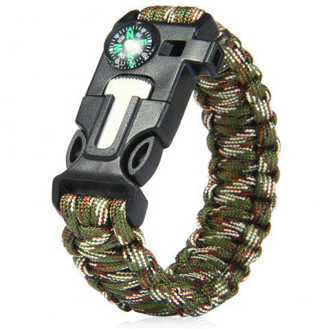 Chic 5 in 1 Outdoor Survival Gear Escape Paracord Bracelet Flint / Whistle / Compass / Scraper - CAMOUFLAGE COLOR  Mobile