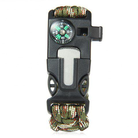 Affordable 5 in 1 Outdoor Survival Gear Escape Paracord Bracelet Flint / Whistle / Compass / Scraper - CAMOUFLAGE COLOR  Mobile