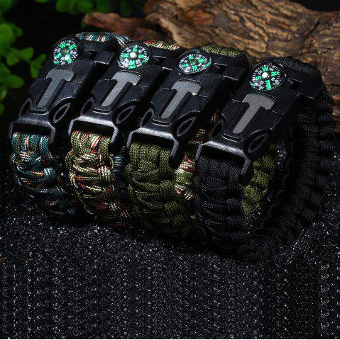 New 5 in 1 Outdoor Survival Gear Escape Paracord Bracelet Flint / Whistle / Compass / Scraper - CAMOUFLAGE COLOR  Mobile